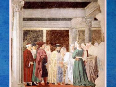 D'après La reine de Saba et Salomon, La légende de la Vraie Croix, de Piero della Francesca, fresques 1452-1466, basilique San Francesco d'Arezzo, Renaissance italienne. (Marsailly/Blogostelle)