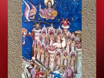 D'après la Jérusalem Céleste et ses Douze Portes, manuscrit néerlandais, art flamand, vers 1400 apjc, Bruges. (Marsailly/Blogostelle)