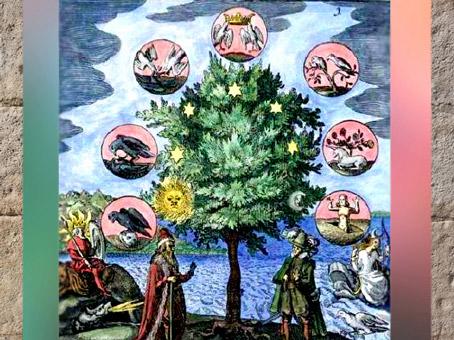 D'après l'arbre alchimique, 12 métaux et 12 planètes, XVIIe siècle. (Marsailly/Blogostelle)