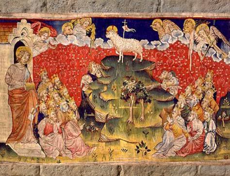 D'après l'Agneau Mystique et deux Arbres, tenture de l'Apocalypse, fin XIVe siècle, Angers, France. (Marsailly/Blogostelle)