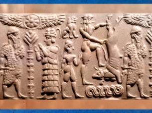 D'après un sceau mésopotamien dit de Gilgamesh, l'Arbre-pilier sacré et le héros en quête d'immortalité, Syrie, IIe millénaire avjc. (Marsailly/Blogostelle)