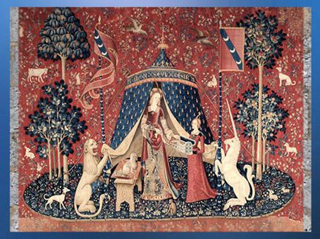 D'après la Dame à la Licorne et son coffre à bijoux, vers 1500 apjc, À Mon Seul Désir, art médiéval, France. (Marsailly/Blogostelle)