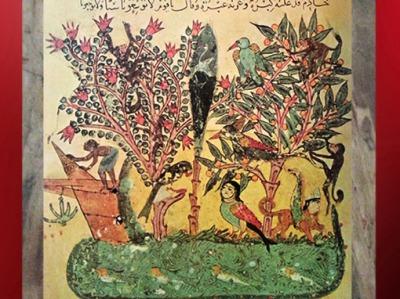 D'après L'île d'Orient, de al-Wâsitî, Les Séances (Maqâmât) d'al-Harîrî, XIIIe siècle, art arabe. (Marsailly/Blogostelle)