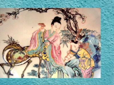 D'après la déité taoïste Hsi Wang Mu et la pêche d'immortalité, détail d'une porcelaine, dynastie Qing, XVIIIe siècle, art chinois. (Marsailly/Blogostelle)