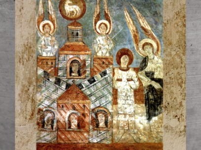 D'après la Jérusalem Céleste, fresque du XIIe siècle, art roman, église Saint-Chef (XIe siècle apjc), Isère, France. (Marsailly/Blogostelle)