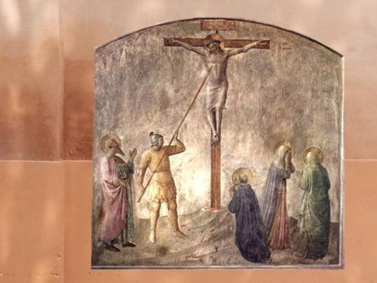 D'après La Crucifixion, Fra Angelico, XVe siècle, San Marco, Florence, Italie. (Marsailly/Blogostelle)