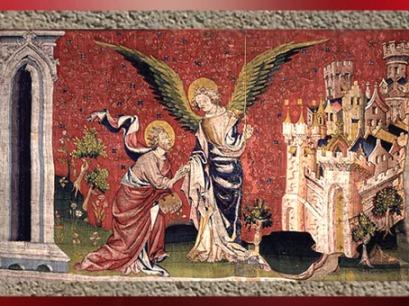 D'après la Tenture de l'Apocalypse, ange, végétation et cité céleste, fin XIVe siècle, Angers, France. (Marsailly/Blogostelle)