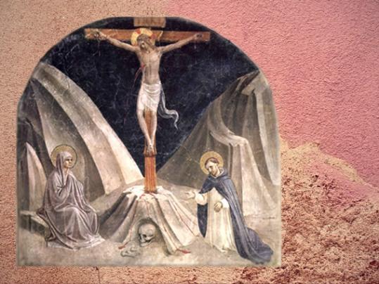 D'après La Crucifixion, le mont Golgotha et crâne, Fra Angelico, XVe siècle, San Marco, Florence, Italie. (Marsailly/Blogostelle)
