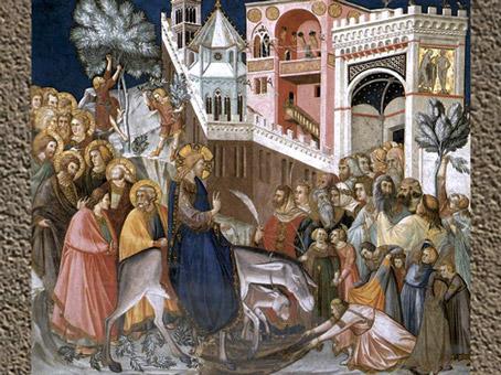 D'après l'entrée de Jésus à Jérusalem, fresque de Pietro Lorenzetti, Assise, XIVe siècle, Italie. (Marsailly/Blogostelle)