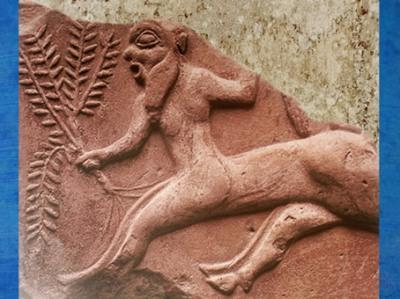 D'après un relief grec, un centaure brandit une plante ou un arbuste, vers VIe siècle avjc, Thasos. (Marsailly/Blogostelle)