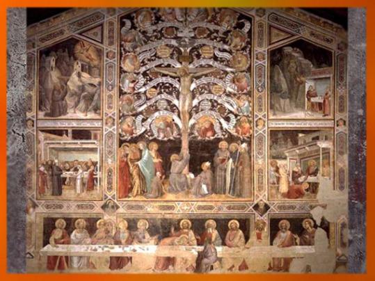 D'après le thème de l'Arbre de Vie - Arbre Croix, Taddeo Gaddi, 1330 apjc, fresque. Florence, Santa Croce, Italie. (Marsailly/Blogostelle)