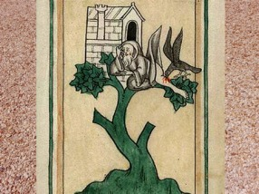 D'après l'énigmatique imagerie médiévale : un homme et sa maison dans un arbre... (Marsailly/Blogostelle)