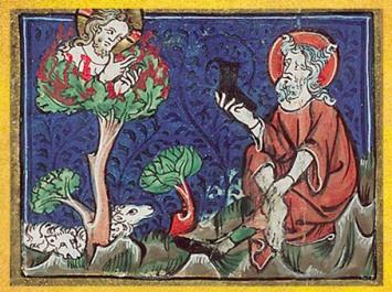 D'après Moise et le Buisson Ardent, de Jacob van Maerlant, Rijmbijbel, XIVe siècle. (Marsailly/Blogostelle)
