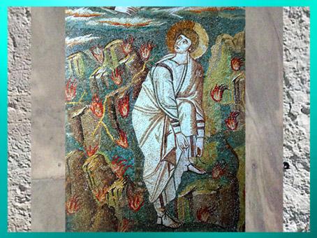 D'après Moise et le Buisson Ardent, détail, mosaique, basilique San Vitale Ravenne, Italie. (Marsailly/Blogostelle)