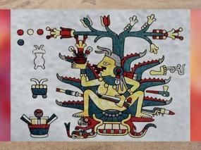D'après une représentation de la déesse de l'Agave, Mayahuel, codex Laud, art mésoaméricain. (Marsailly/Blogostelle)