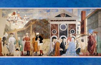D'après Hélène et le miracle de la Vraie Croix, de Piero della Francesca, fresques,1452-1466, basilique San Francesco d'Arezzo, Renaissance italienne. (Marsailly/Blogostelle)