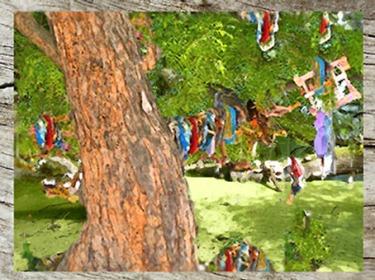 D'après les rituels de fertilité en Inde. Les femmes accrochent morceaux de tissus sur un arbre... (Marsailly/Blogostelle)