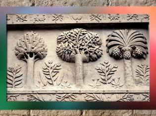 D'après les trois arbres du palais Jacques Cœur, tympan, XVe siècle, Bourges, France (Marsailly/Blogostelle)