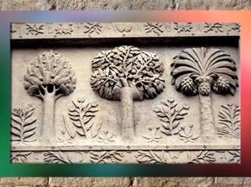 D'après les trois arbres du palais Jacques Cœur, tympan, XVe siècle, Bourges, France.(Marsailly/Blogostelle)