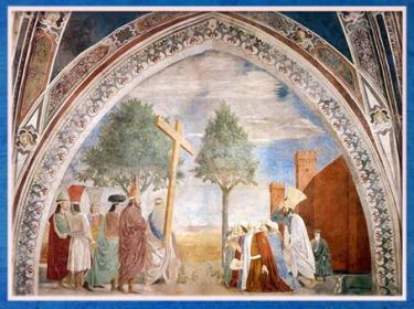D'après L'empereur Héraclius, qui ramène la Vraie Croix à Jérusalem, de Piero della Francesca, fresques 1452-1466, basilique San Francesco d'Arezzo, Renaissance italienne. (Marsailly/Blogostelle)