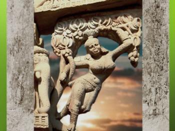 D'après une Yakshî sculptée, divinité des arbres, Sanchî 1, fin Ier siècle avjc- début Ier siècle apjc, Madya Pradesh, Inde du Nord. (Marsailly/Blogostelle)