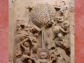 D'après un arbre pipal et trône vide, symboles de Buddha, Amaravati, Ier siècle apjc, Andhra Pradesh, Inde ancienne. (Marsailly/Blogostelle)