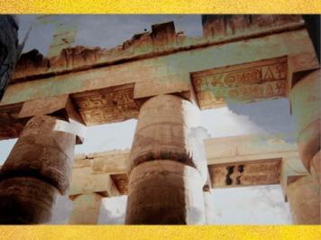 D'après la forêt de piliers de Louxor, temple d'Amon-Mout-Khonsou, Thèbes, Aménophis III, Nouvel Empire. (Marsailly/Blogostelle)