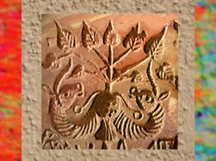 D'après un sceau de Mohenjo- Daro, deux unicornes et un pipal, vers 2300 - 1800 avjc, civilisation de l'Indus. (Marsailly/Blogostelle)