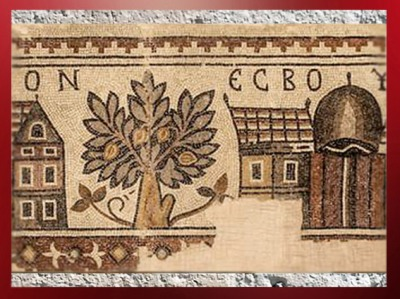 D'après l'Arbre de Vie, détail d'une mosaïque, VIe siècle apjc, église Saint- George, Madaba, Jordanie. (Marsailly/Blogostelle)