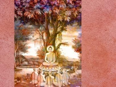 D'après une image du premier sermon de Buddha dans le parc aux gazelles à Sarnath, Thaïlande. (Marsailly/Blogostelle)