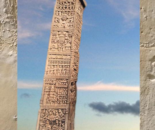 D'après les reliefs superposés d'un pilier, porte Nord, Ier siècle avjc-Ier siècle apjc, stûpa n° 1, Sânchî, Madya Pradesh,Nord, Inde ancienne. (Marsailly/Blogostelle)