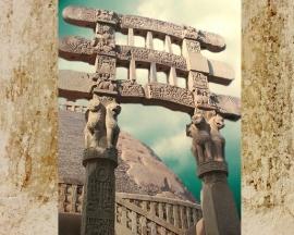 D'après une vue du torana Sud, Lions et Roue de la Loi, Ier siècle avjc-Ier siècle apjc, stûpa n° 1, Sânchî, Madhya Pradesh, Inde du Nord. (Marsailly/Blogostelle)