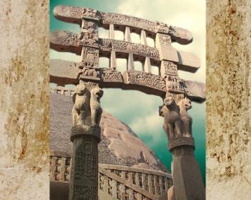 D'après une vue du torana Sud, Lions et Roue de la Loi, Ier siècle avjc-Ier siècle apjc, stûpa n° 1, Sânchî, Madhya Pradesh, Nord, Inde ancienne. (Marsailly/Blogostelle)