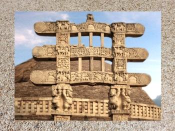 D'après le torana Ouest et ses atlantes, Ier siècle avjc-Ier siècle apjc, stûpa n° 1, Sânchî, Madhya Pradesh, Nord, Inde ancienne. (Marsailly/Blogostelle)