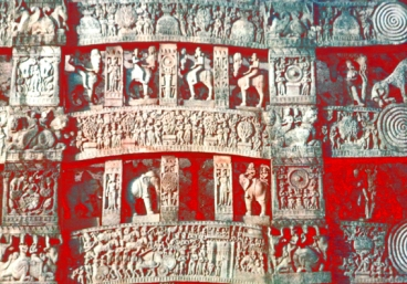 D'après les linteaux sculptés du torana Nord, stûpa n° 1 Sanchî, Madya Pradesh,Nord, Inde ancienne. (Marsailly/Blogostelle)