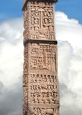 D'après les reliefs superposés, jambage porte Nord, stûpa n° 1 Sanchî, Madya Pradesh, Inde du Nord. (Marsailly/Blogostelle.)