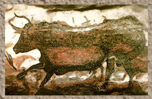 D'après les taureaux de Lascaux, Dordogne, France, art magdalénien. (Marsailly/Blogostelle.)