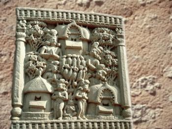 D'après un relief historié : dans les jardins d'un palais..., Ier siècle avjc-Ier siècle apjc, stûpa n° 1, Sânchî, Madhya Pradesh, Inde du Nord. (Marsailly/Blogostelle)