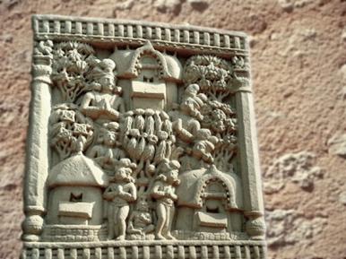 D'après un relief historié : dans les jardins d'un palais, Ier siècle avjc-Ier siècle apjc, stûpa n° 1, Sânchî, Madhya Pradesh, Nord, Inde ancienne. (Marsailly/Blogostelle)