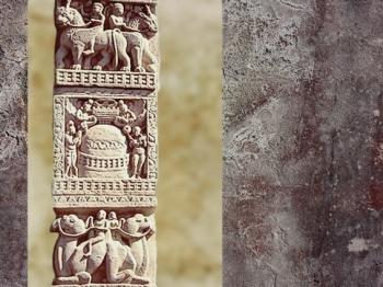D'après un décor en bas-relief, stûpa et dromadaires, Ier siècle avjc-Ier siècle apjc, stûpa n° 1, Sânchî, Madya Pradesh, Nord, Inde ancienne. (Marsailly/Blogostelle)