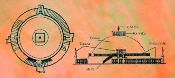 D'après un plan du grand stûpa de Sanchî 1, Madhya Pradesh, Nord, Inde ancienne. (Marsailly/Blogostelle)