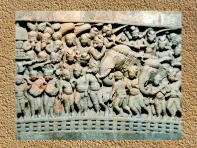 D'après une scène urbaine, bas-relief, stûpa n° 1, Sânchî, vers le Ier siècle avjc, Madya Pradesh, Inde du Nord. (Marsailly/Blogostelle.)