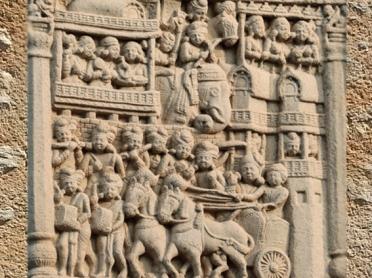 D'après une porte de ville, torana Nord, stûpa n° 1 Sanchî, Sanchî 1, Inde ancienne. (Marsailly/Blogostelle)
