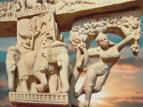 D'après les Yakshîs du Torana Nord, stûpa n° 1, sculptées vers le Ier siècle avjc, Sânchî, Madya Pradesh, Inde du Nord. (Marsailly/Blogostelle.)