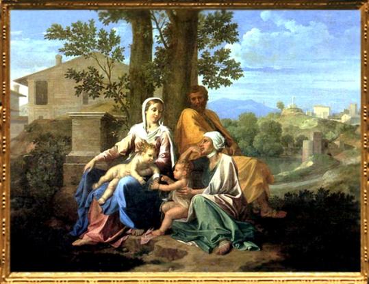 D'après La Sainte Famille avec saint Jean et sainte Élisabeth, Nicolas Poussin, 1650. (Marsailly/Blogostelle.)
