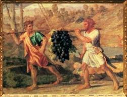 D'après La Grappe de la Terre Promise, détail, Nicolas Poussin, 1660-1664. (Marsailly/Blogostelle)