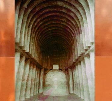 D'après la nef du temple rupestre de Bhâja, Mahârâsthra, Inde du Sud. (Marsailly/Blogostelle)