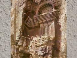 D'après le détail d'un balcon sculpté, temple rupestre de Bhâja, vers le Ier siècle avjc, Mahârâsthra, Inde du Sud. (Marsailly/Blogostelle.)