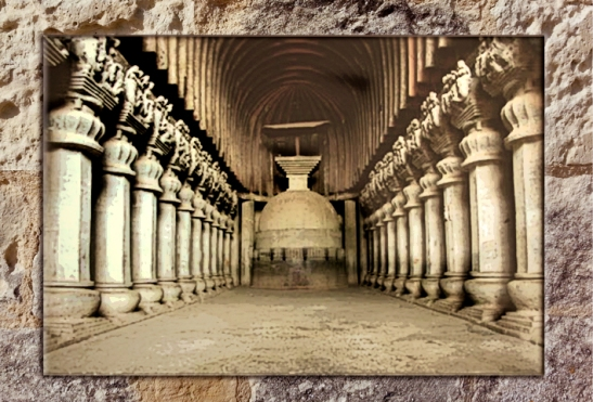 D'après la nef du sanctuaire bouddhique de Karlî (ou Karla), fin Ier siècle apjc- IIe siècle apjc, Mahârâsthra, Inde du Sud. (Marsailly/Blogoselle)