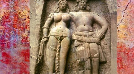 D'après un monumental couple sculptés, façade du temple de Karlî, fin du Ier siècle apjc- IIe siècle apjc, Mahârâsthra,Sud, Inde ancienne. (Marsailly/Blogostelle)